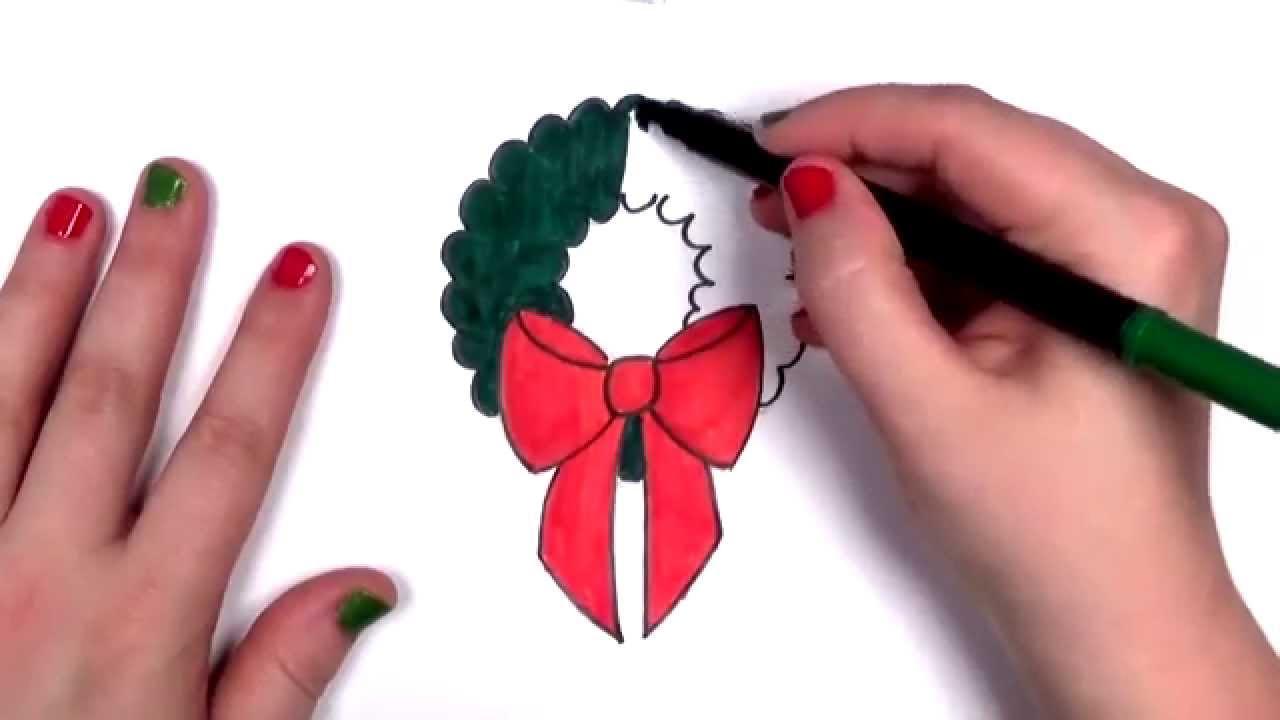 How To Draw A Cartoon Christmas Wreath Cc Youtube