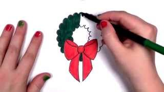 How to Draw a Cartoon Christmas Wreath | CC