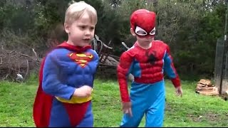Little Superheroes - Spiderman and Superman Outdoor Adventure