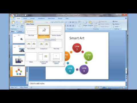 Microsoft PowerPoint 2007 pt 1 (Add slide, pictures, sound, video, themes, animation &more