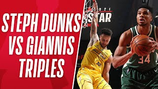 Best of Steph's DUNKS vs Giannis' THREES! 👀