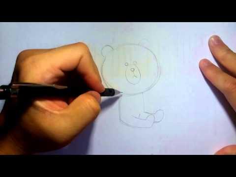 วาดการ์ตูนกันเถอะ วาดรูปการ์ตูน หมี brown line นั่ง