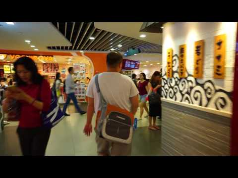 Singapore, walking via food court to Bugis MRT Station(green line)