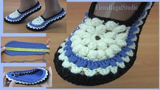 Crochet Slippers with Flower Tutorial 283