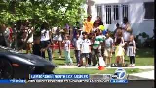 From ABC 7 Los Angeles - Lamborghini dealer surprises 7 year old boy