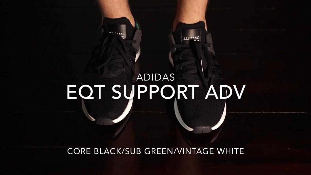 pretty nice 3cb44 d7261 ontape  Adidas EQT Support ADV - Core BlackSub GreenVintage White On  Feet