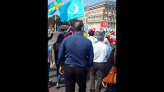 Uyghur Turkar i Sverige Stockholm. Demonstration.