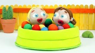 Superhero balls pool 💕Play Doh Stop motion cartoons