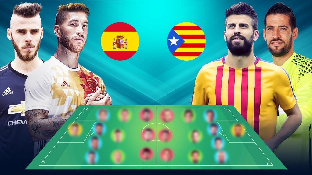 تشكيلة نجوم منتخب كتالونيا ضد منتخب إسبانيا لو تم الإنفصال بينهم Youtube
