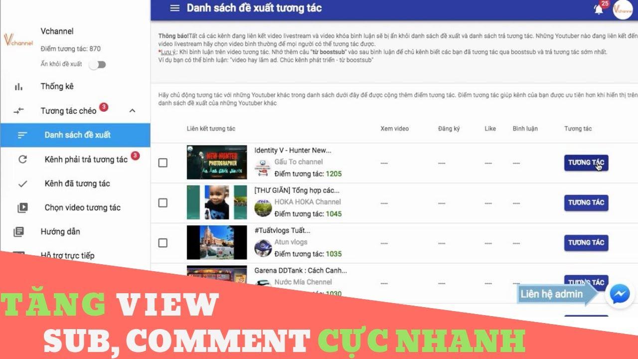 Cách tương tác chéo tăng like, subscribe, comment bằng boostsub.com