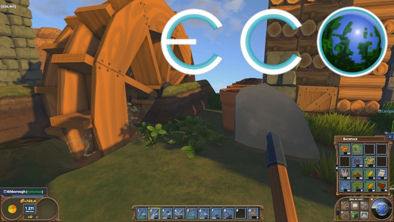 ECO Server Play #3 – Water Wheel Power, Ore Smelting and Pollution