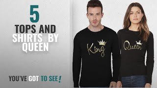 Top 10 Queen Tops And Shirts [2018]: ADYK Cotton full sleeved Couple T-Shirts King and Queen (Pack