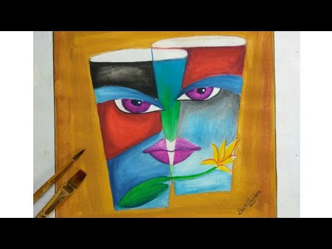 How To Draw Modern Art Glass And Face With Poster Colour Youtube