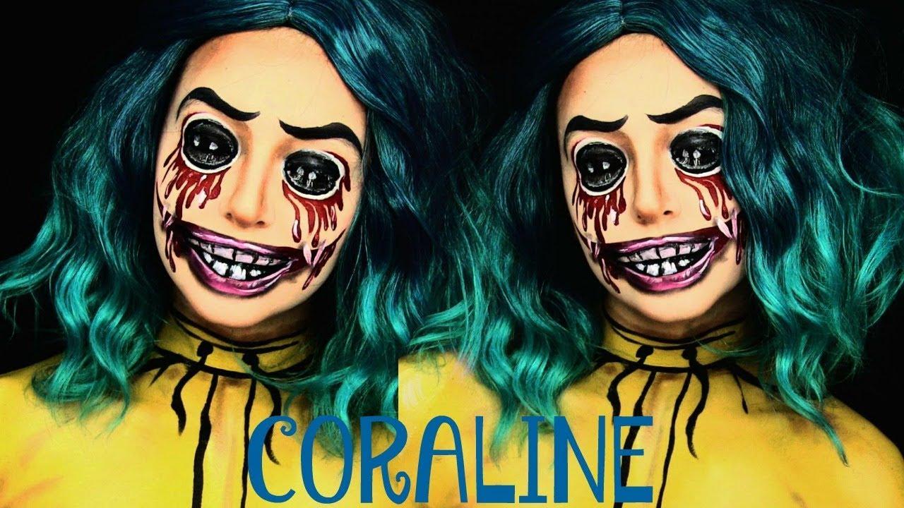 Coraline Halloween Makeup Tutorial Youtube