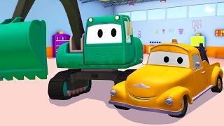 Tom der Abschleppwagen und Der Bagger in Autopolis |Lastwagen Bau-Cartoon-Serie fûr Kinder 🚚