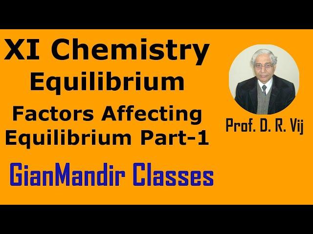 XI Chemistry - Equilibrium - Factors Affecting Equilibrium Part-1 by Ruchi Mam
