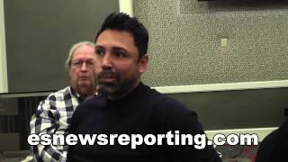 Oscar De La Hoya Reacts To Mayweather vs Pacquiao