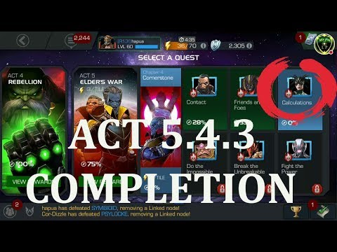 act 5.4.3 completion (hela boss) marvel contest of champion