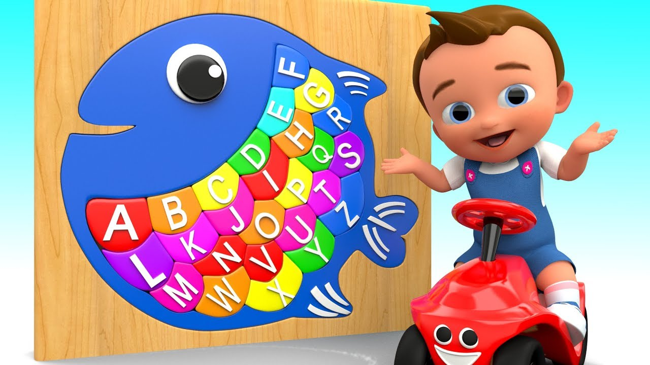 Baby learning alphabets with fish wooden puzzle for for Baby fish song