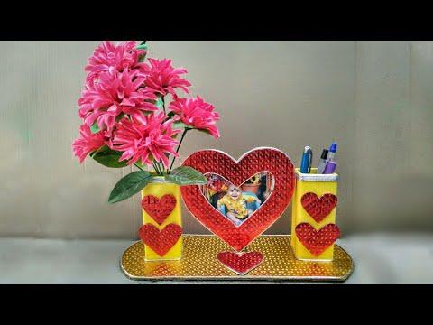 Valentine day gift ideas //flower vase making //photo frames making at home