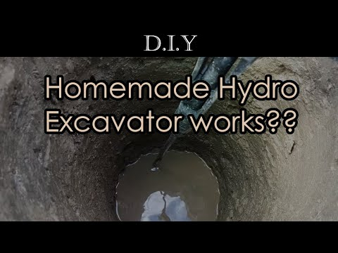 """DIY Deck (Part 2): How to use pressure washer to dig 12"""" post hole? Homemade Hydro Excavator!"""