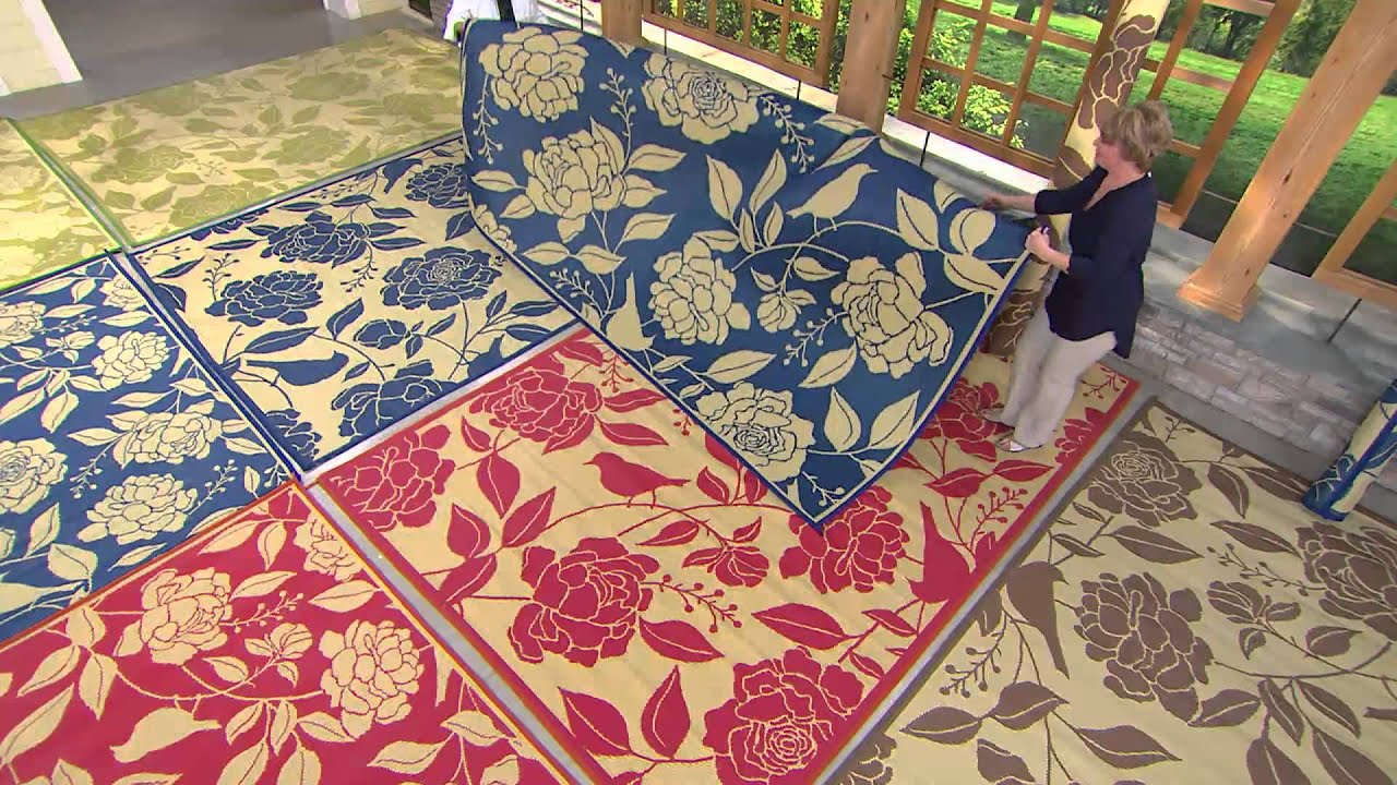barbara king garden peony 8x11 reversible outdoor mat by patiomats with carolyn gracie youtube - Patio Mats