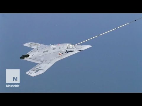 Watch the first ever aerial refueling of a drone in mid-flight | Mashable