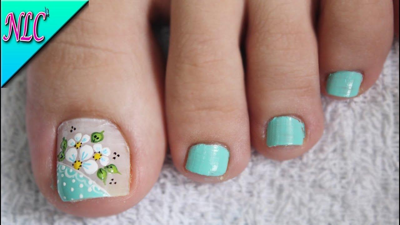 Diseño De Uñas Flores Para Pies Muy Fácil Flowers Nail Art Nlc