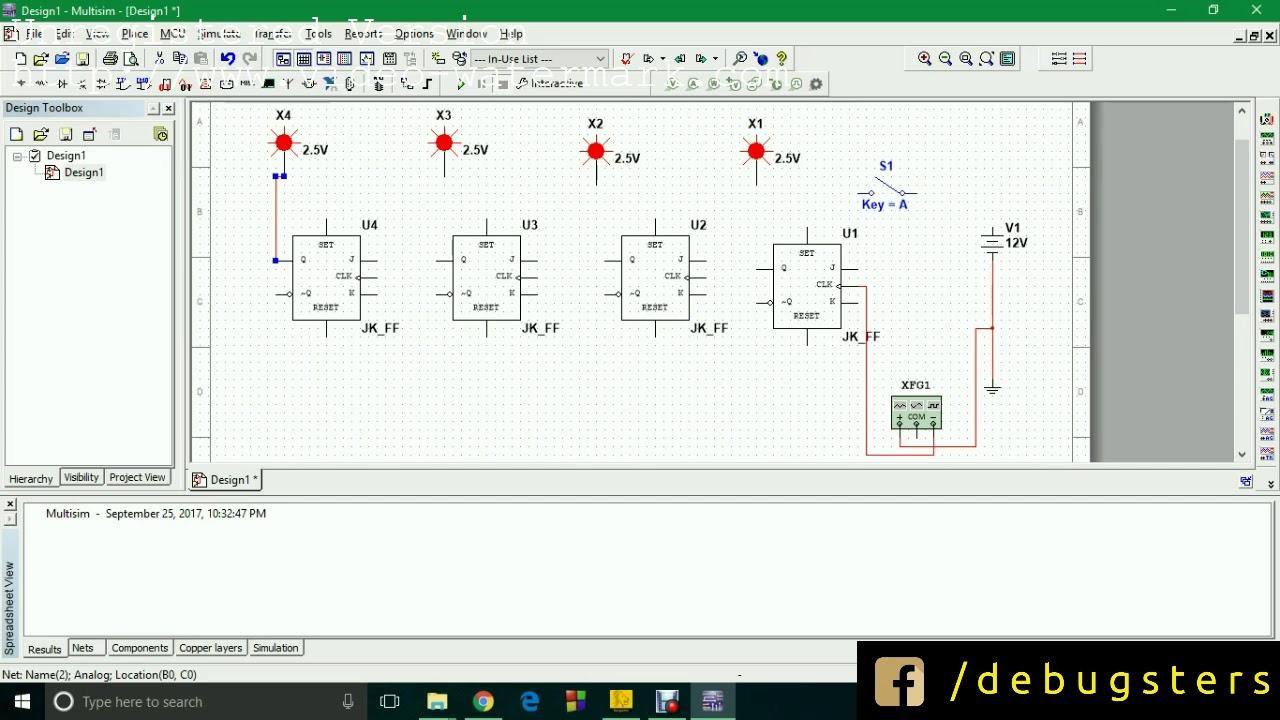 [simulation] 4 bit binary ripple counter