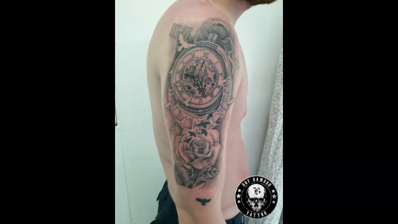 Astronomical Clock Tattoo: Bamboo Tattoo Clock Tattoo Design First Bamboo Tattoo By