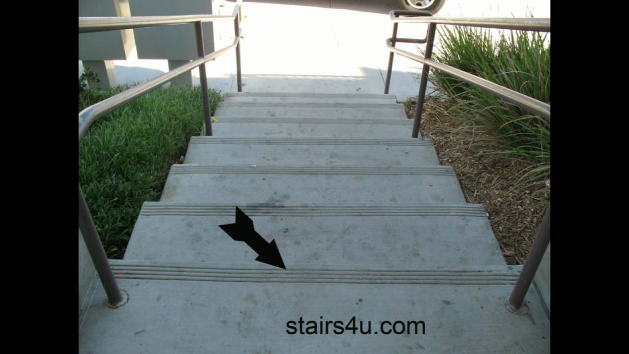 Concrete Stairs With Anti Slip Protection Renovation And Construction You
