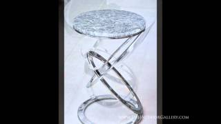 Modern Round Marble Top End Table - Olimpico