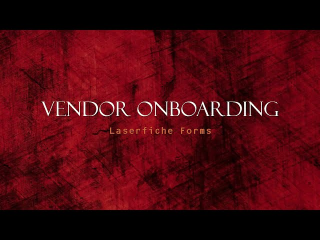 Vendor On-Boarding