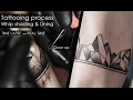 Tattooing process - techniques Whip shading Lining [Time lapse & Real time & Close up HD] Armband