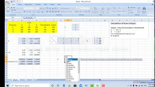 Leontief Input Output Model (Using Excel)