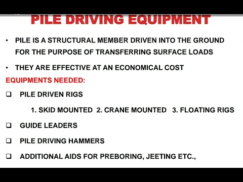 Pile Driving Equipment With Suitable Diagram And Brief Knowledge In Hindi