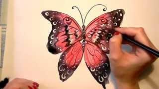 Как нарисовать красивую бабочку? Видео уроки рисования для детей(СМОТРИТЕ ВИДЕОКУРС