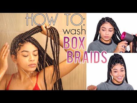 How To Wash Box Braids NO FRIZZ + Drying Hacks!   jasmeannnn