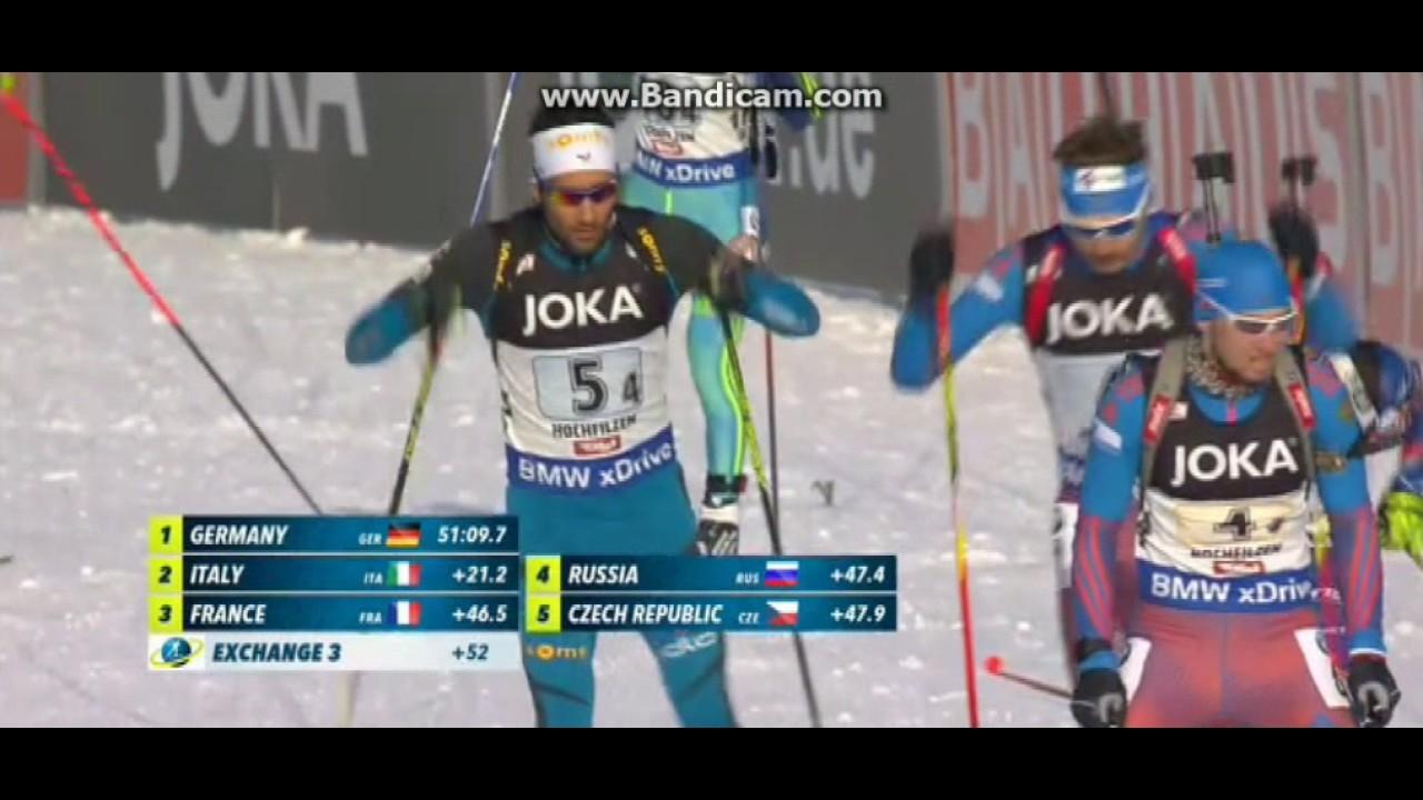 Мартен Фуркад нагло сбивает Александра Логинова с лыжни