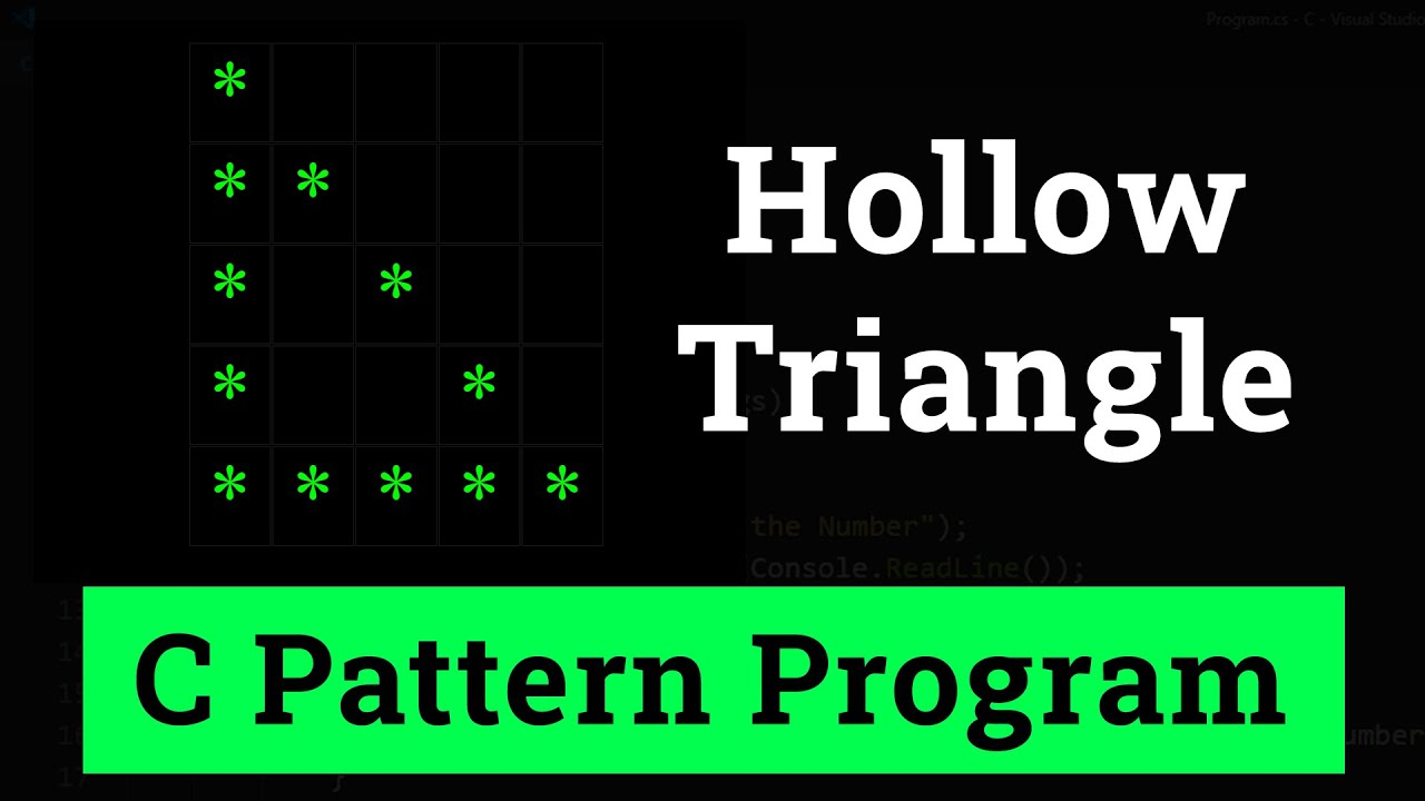 C Program to Display Hollow Right Angle Triangle Star Pattern and Numbers
