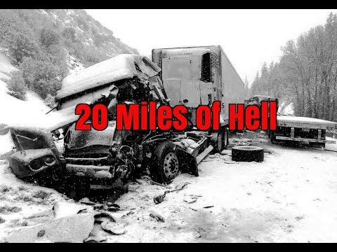 20 miles of Hell. Multi car and truck pile up. 15 Trucks Crash
