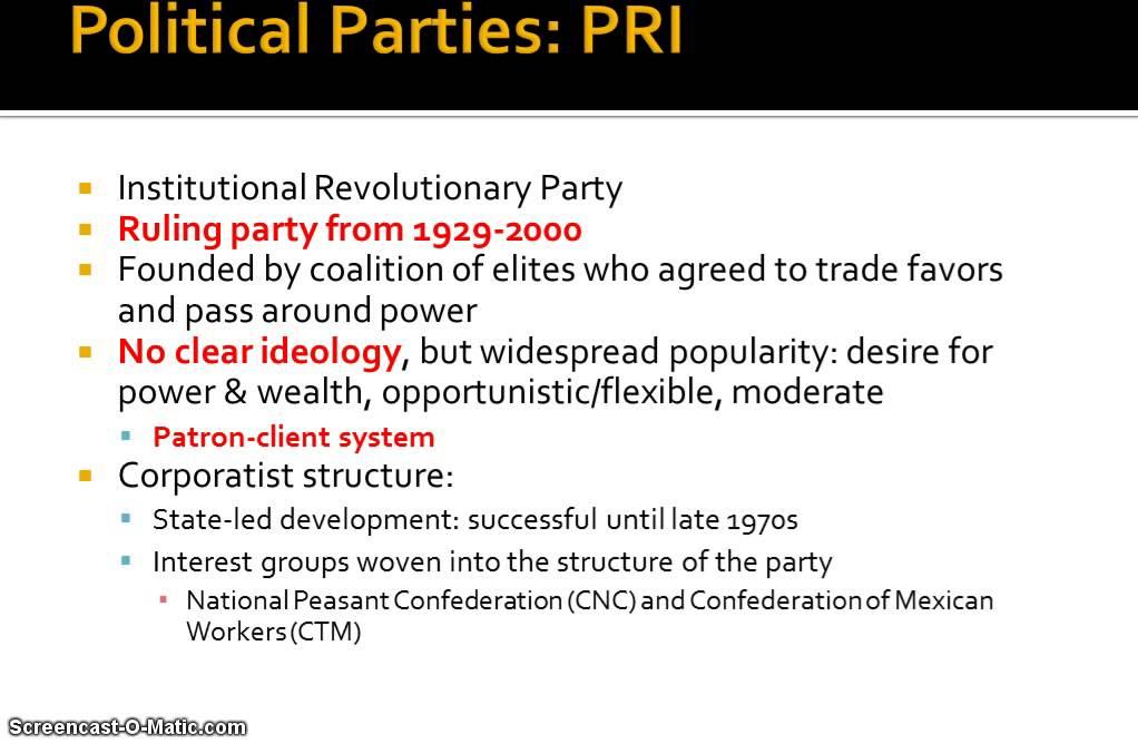 institutional revolutionary party pri and mexico essay Pan, prd, mexican politics, pt, pvem, mc - institutional revolutionary party (pri) and mexico.