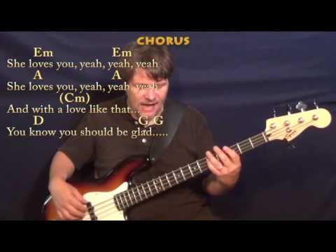 She Loves You (Beatles) Bass Guitar Cover Lesson with Chords/Lyrics