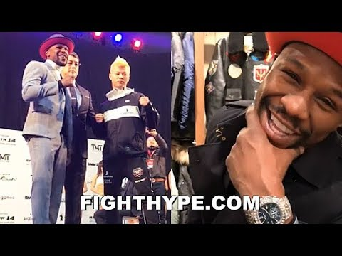 FLOYD MAYWEATHER 24 HOURS BEFORE EXHIBITION WITH TENSHIN NASUKAWA; UNBOTHERED GRINNING EAR TO EAR