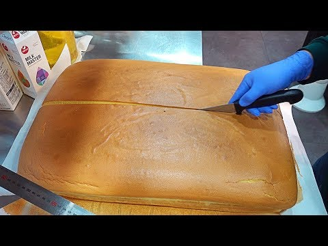 대왕카스테라 Huge Jiggly Cake Making & Cutting, Giant Castella, Sponge Cake