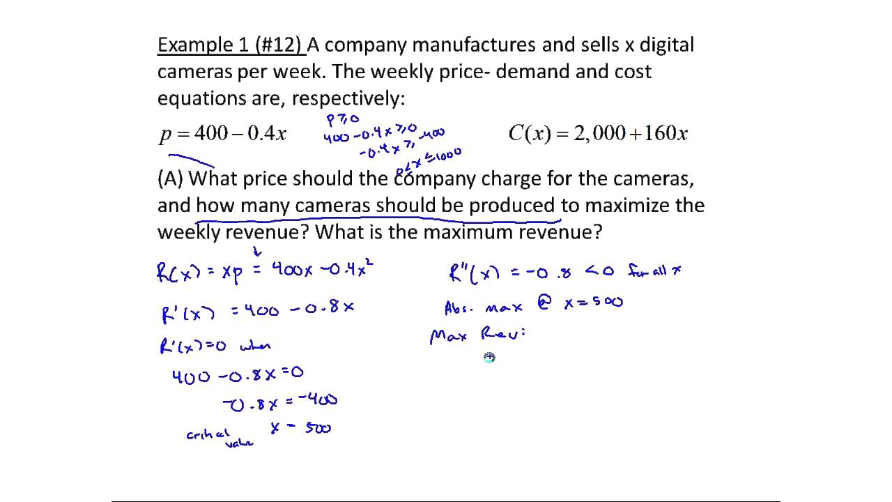 Exampless Of Maximizing Profit And Revenue Using Calculus Mth 145