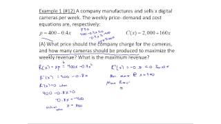 exampless of maximizing profit and revenue using calculus mth 145 section 5 6