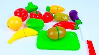 Учим названия фруктов и овощей Игрушки на липучках разрезаем. Развивающее видео для детей