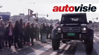 Driving monstrous Mercedes G63 AMG 6x6 through Amsterdam (English subtitled)