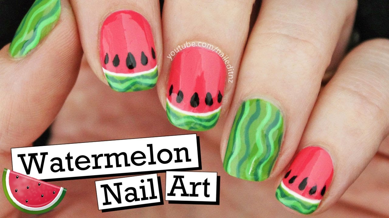 cute watermelon nail art summer